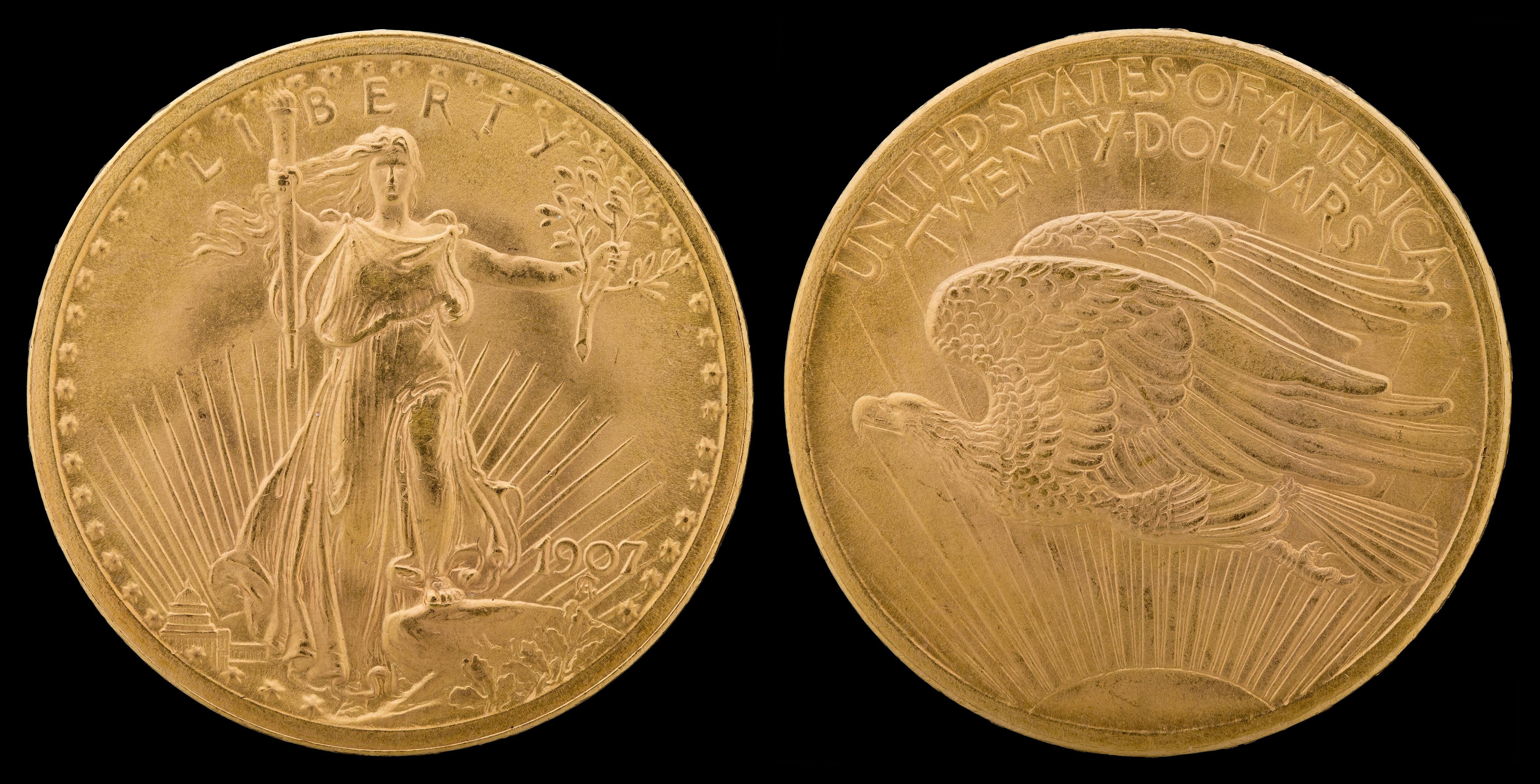 20 dollars Saint Gaudens 1907 Haut Relief