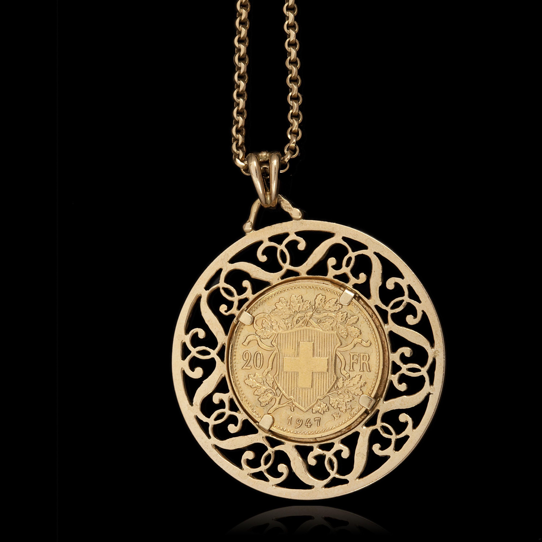 20 francs Suisse Vrenelis monté en pendentif