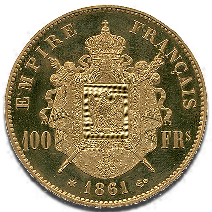 100 francs or Napoléon III 1861 Flan Bruni - revers