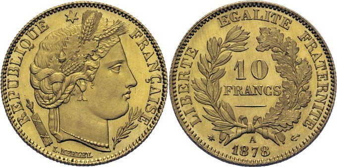 10 francs Cérès 1878 A Paris Exposition Universelle