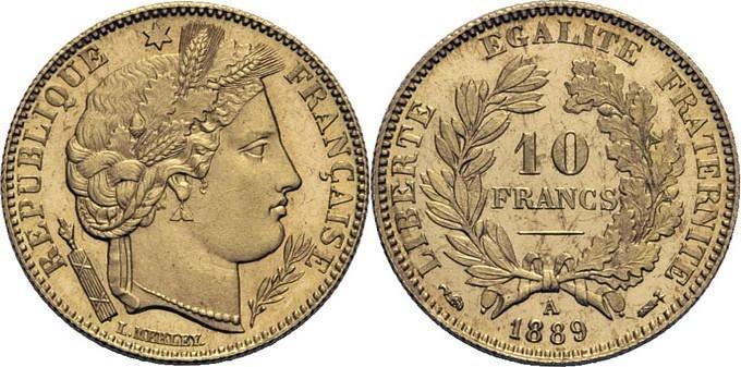 10 Francs Cérès 1889 A Paris Flan Bruni Exposition Universelle