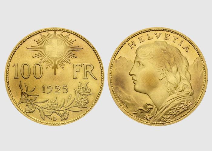 100 francs suisse or