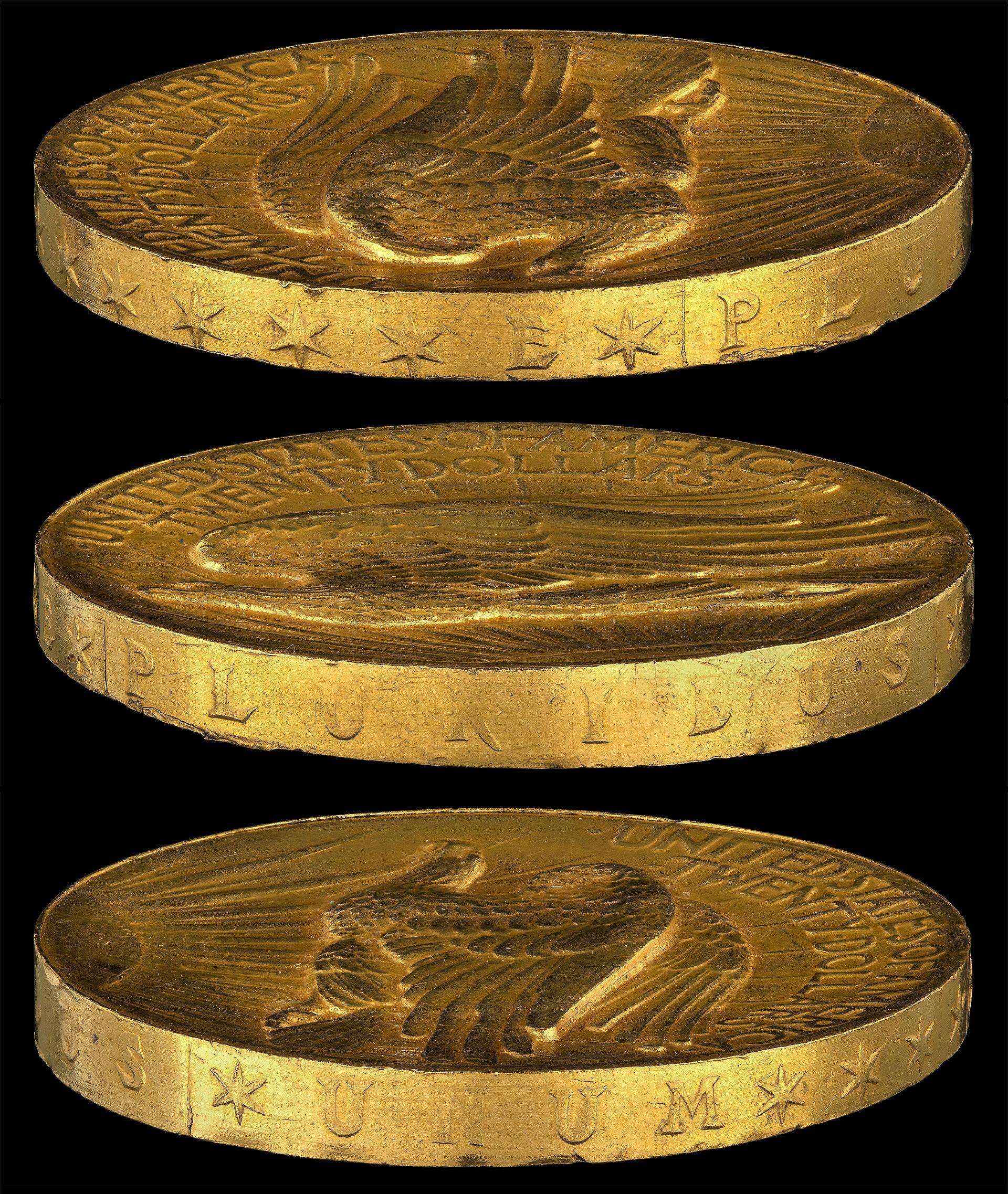 Détails relief 20 dollars Saint Gaudens 1907