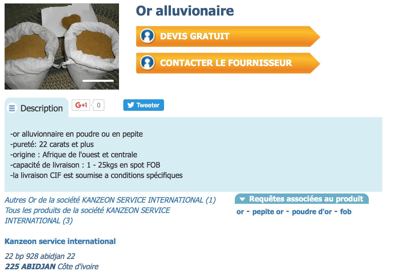 Or alluvionnaire arnaque