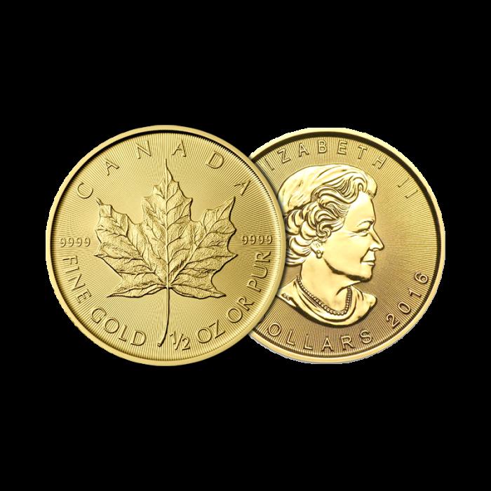 1/2 Maple Leaf en or
