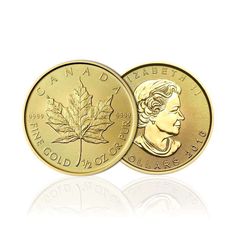 1/2 Maple Leaf en or