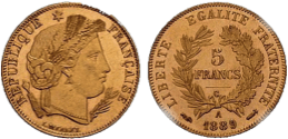 5 francs or Cérès