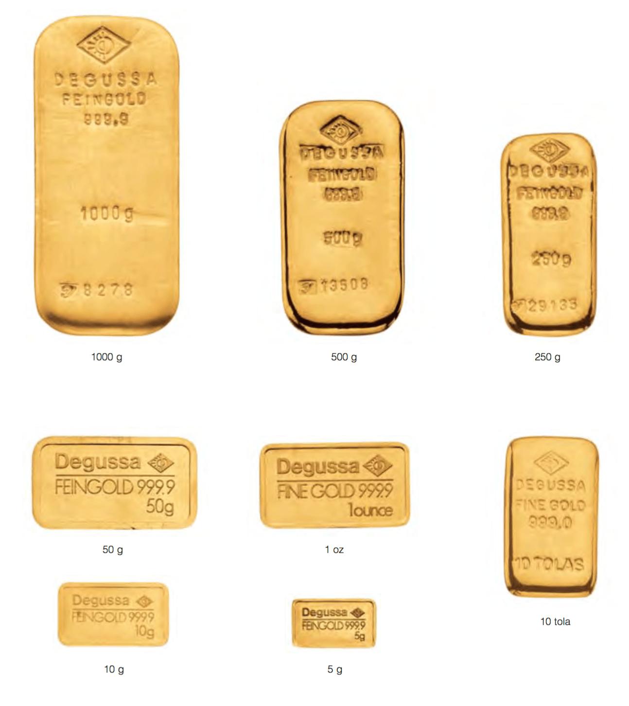 lingots d'or Degussa