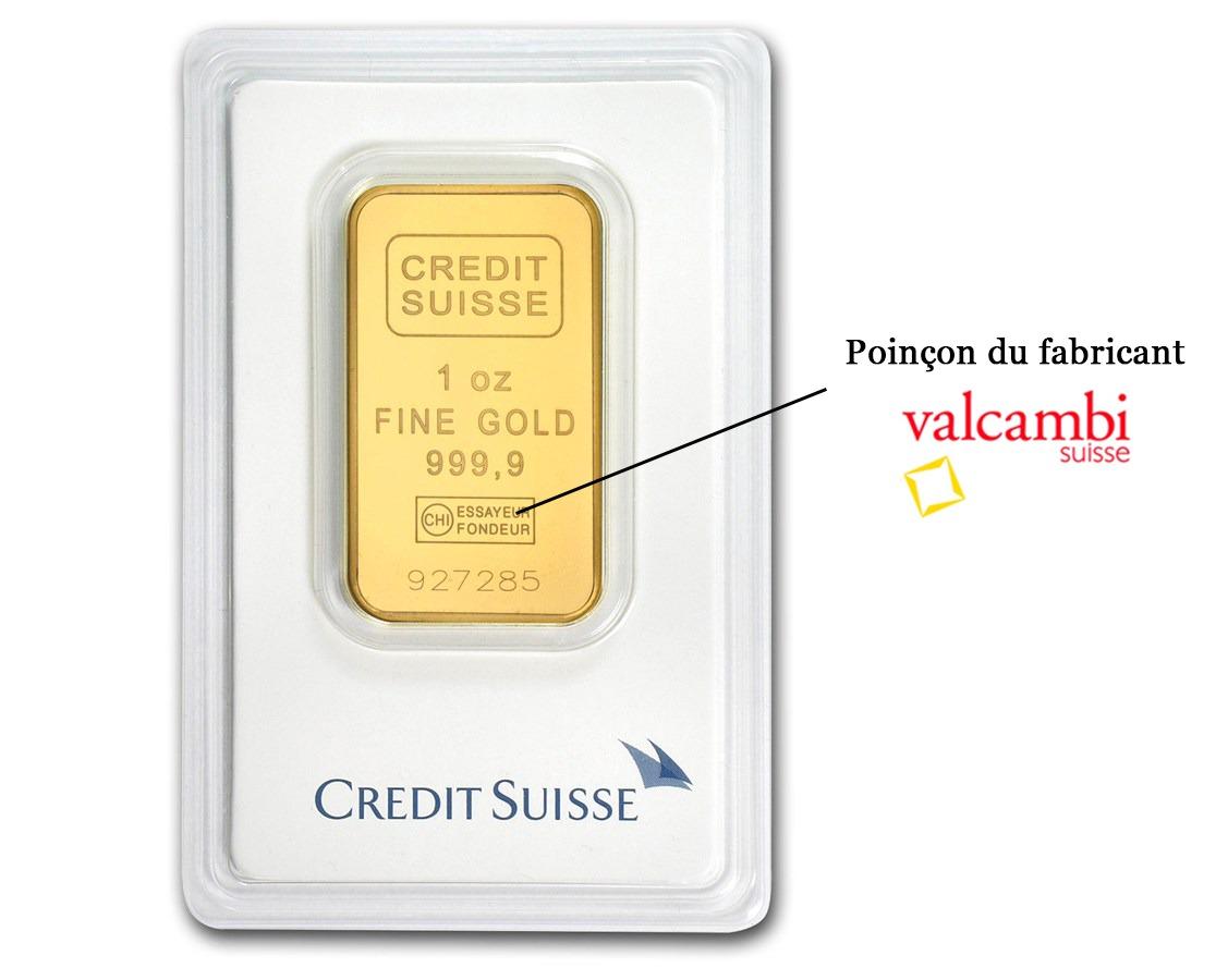 lingot d'or investissement crédit suisse