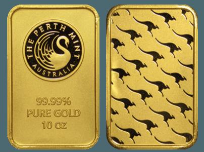 lingots d'or frappés Perth Mint