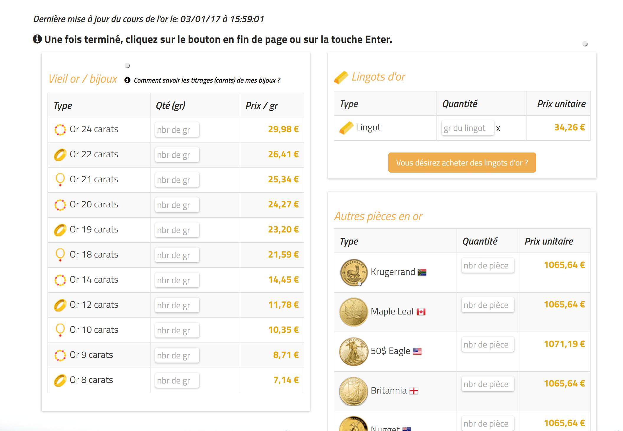 prix de rachat d'une bague en or