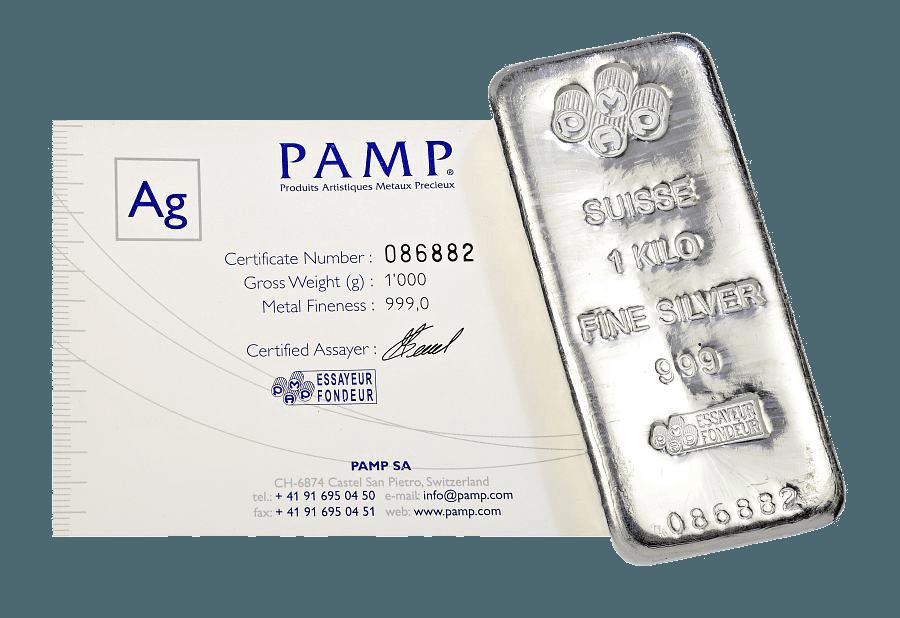 1 kg argent lingot et certificat