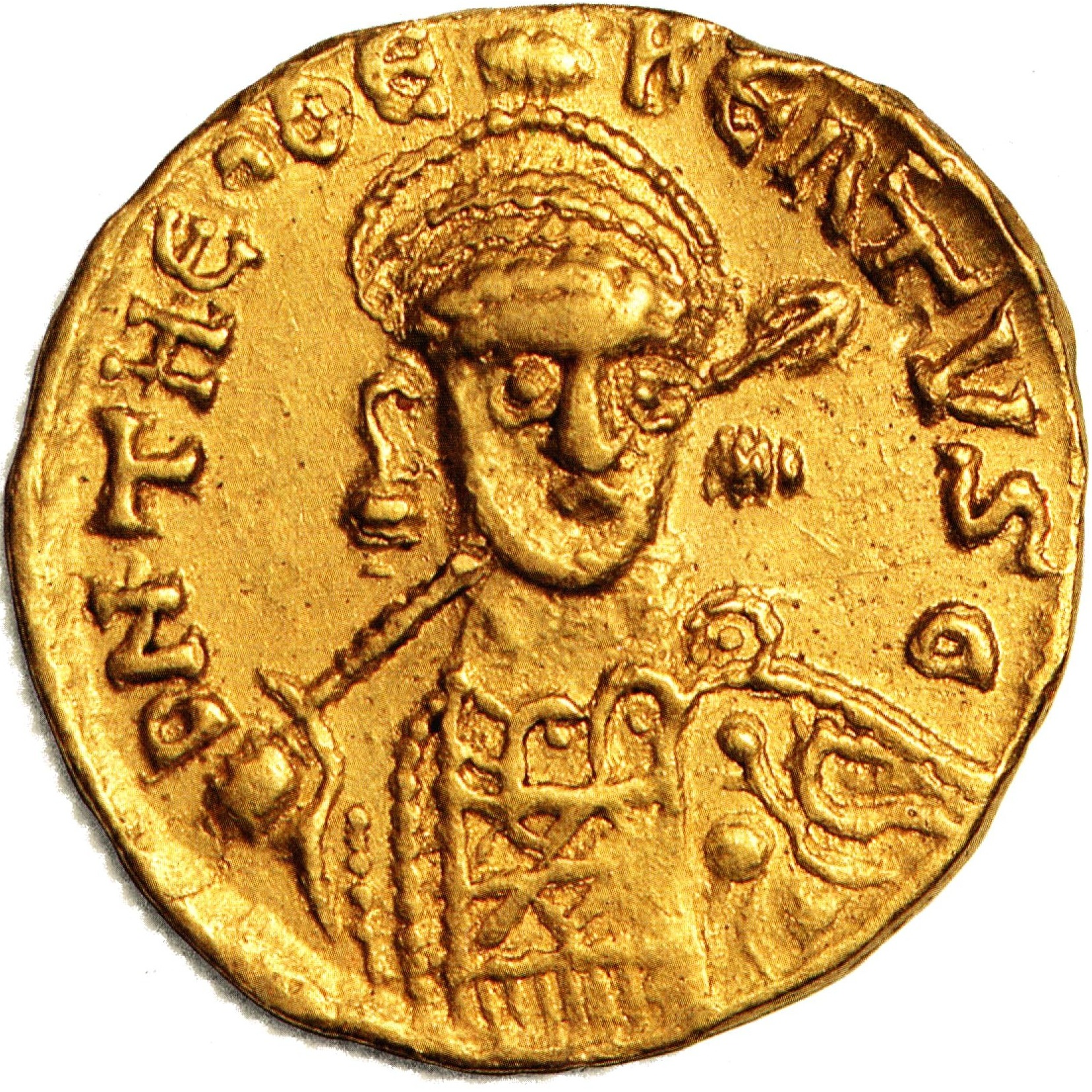 Mnze Gold Solidus Theudebert I um 534 obverse