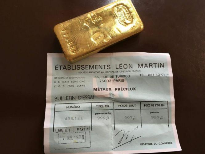 Lingot 1 kg Léon Martin de Paris (France) de 1979 avec certificat
