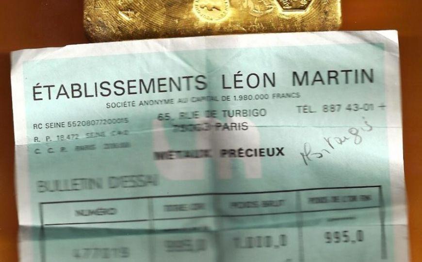Lingot d'or et certificat - Leon Martin