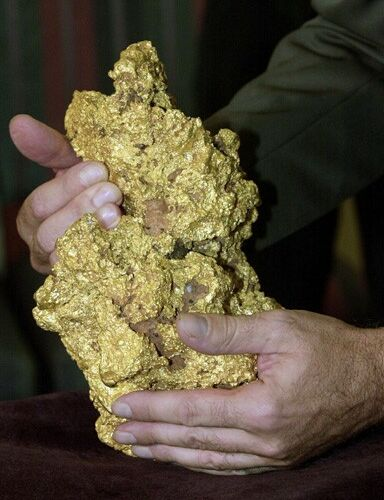Original caption: PER01:AUSTRALIA-NUGGET:PERTH,AUSTRALIA,9APR00 - What has been described as the world's second largest intact gold nugget is held during its first public display at the Perth Mint in Perth, Western Australia April 9. Based on the latest gold price of $281 an ounce, the 819 ounce lump of almost pure gold contains $230,139 worth of the precious metal. The nugget stands 28cm tall by 18 cm wide, and is estimated to be between 5 million and 70 million years old. Found by an unnamed prospector in the Kalgoorlie Region of Western Australia in 1995, the nugget was hidden under his bed for several years before tried to sell it in the United States. It has since been acquired by Normandy Mining Limited.  pb/Photo by  Annaliese Frank    REUTERS --- Image by © Reuters/CORBIS