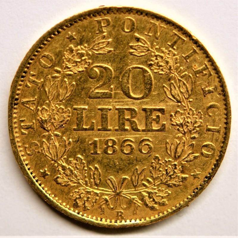 monnaie en or monnaie en or 20 lire pie ix 1866