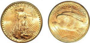 1921 qualité épreuve finition romaine Saint Gaudens 20 en or