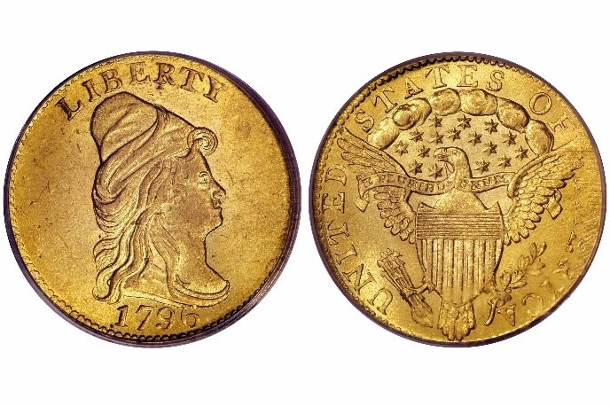 Buste drapé 1796 2,50 $ en or Gold Quarter Eagle - No Stars