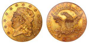 Buste tête recouverte de 1829 qualité épreuves de 5 demi aigle en or Grande date
