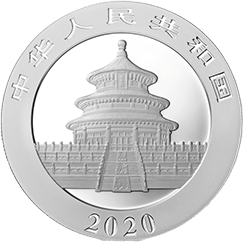 panda chinois 2020 argent coin revers